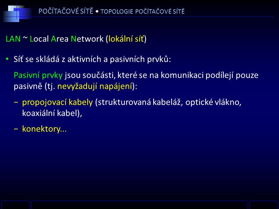 LAN ~ Local Area Network (lokální síť) POČÍTAČOVÉ SÍTĚ TOPOLOGIE POČÍTAČOVÉ SÍTĚ INTERNETMODEMROUTER PC SWITCH TV SERVER NOTEBOOKACCESS POINT WANLAN