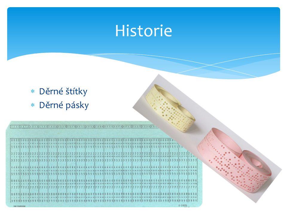  Děrné štítky  Děrné pásky Historie