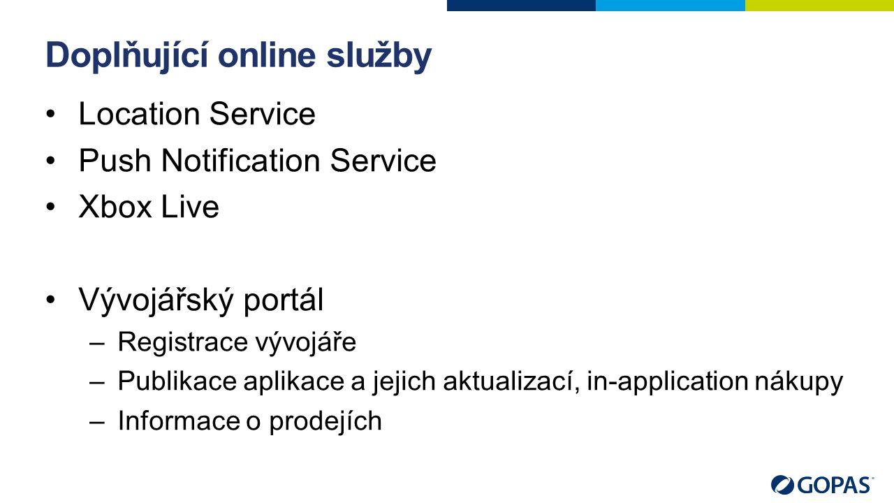 Doplňující online služby Location Service Push Notification Service Xbox Live Vývojářský portál –Registrace vývojáře –Publikace aplikace a jejich aktualizací, in-application nákupy –Informace o prodejích