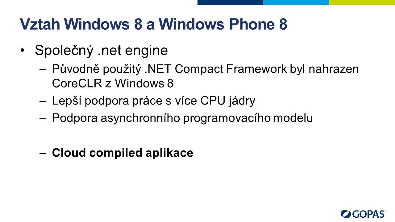 Vztah Windows 8 a Windows Phone 8 Společný.net engine –Původně použitý.NET Compact Framework byl nahrazen CoreCLR z Windows 8 –Lepší podpora práce s více CPU jádry –Podpora asynchronního programovacího modelu –Cloud compiled aplikace
