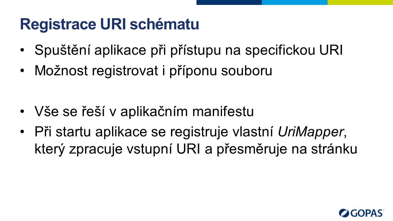 Registrace URI schématu Spuštění aplikace při přístupu na specifickou URI Možnost registrovat i příponu souboru Vše se řeší v aplikačním manifestu Při startu aplikace se registruje vlastní UriMapper, který zpracuje vstupní URI a přesměruje na stránku