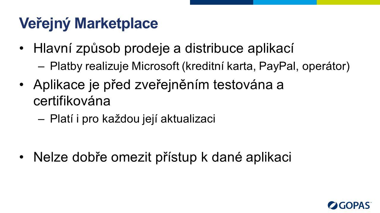 Veřejný Marketplace Hlavní způsob prodeje a distribuce aplikací –Platby realizuje Microsoft (kreditní karta, PayPal, operátor) Aplikace je před zveřejněním testována a certifikována –Platí i pro každou její aktualizaci Nelze dobře omezit přístup k dané aplikaci