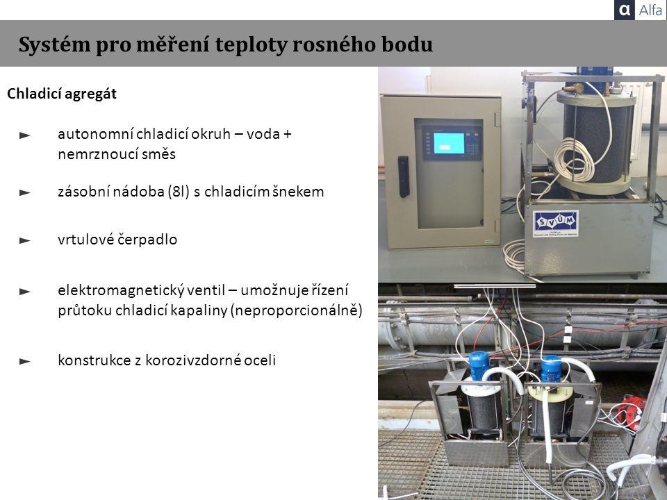 Systém pro měření teploty rosného bodu Chladicí agregát autonomní chladicí okruh – voda + nemrznoucí směs zásobní nádoba (8l) s chladicím šnekem vrtulové čerpadlo elektromagnetický ventil – umožnuje řízení průtoku chladicí kapaliny (neproporcionálně) konstrukce z korozivzdorné oceli