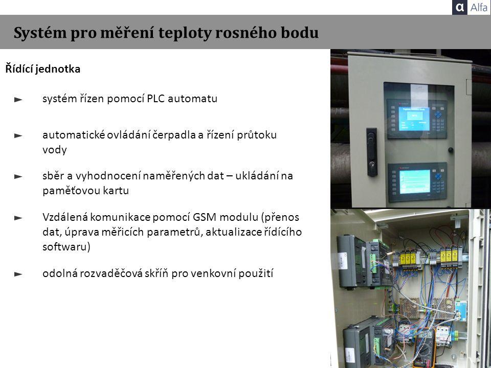 Systém pro měření teploty rosného bodu Řídící jednotka systém řízen pomocí PLC automatu automatické ovládání čerpadla a řízení průtoku vody sběr a vyh