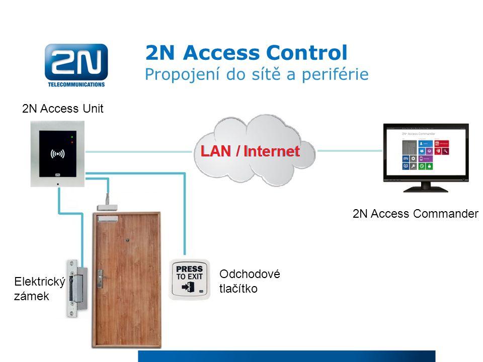 2N Access Control Propojení do sítě a periférie 2N Access Unit Elektrický zámek Odchodové tlačítko 2N Access Commander