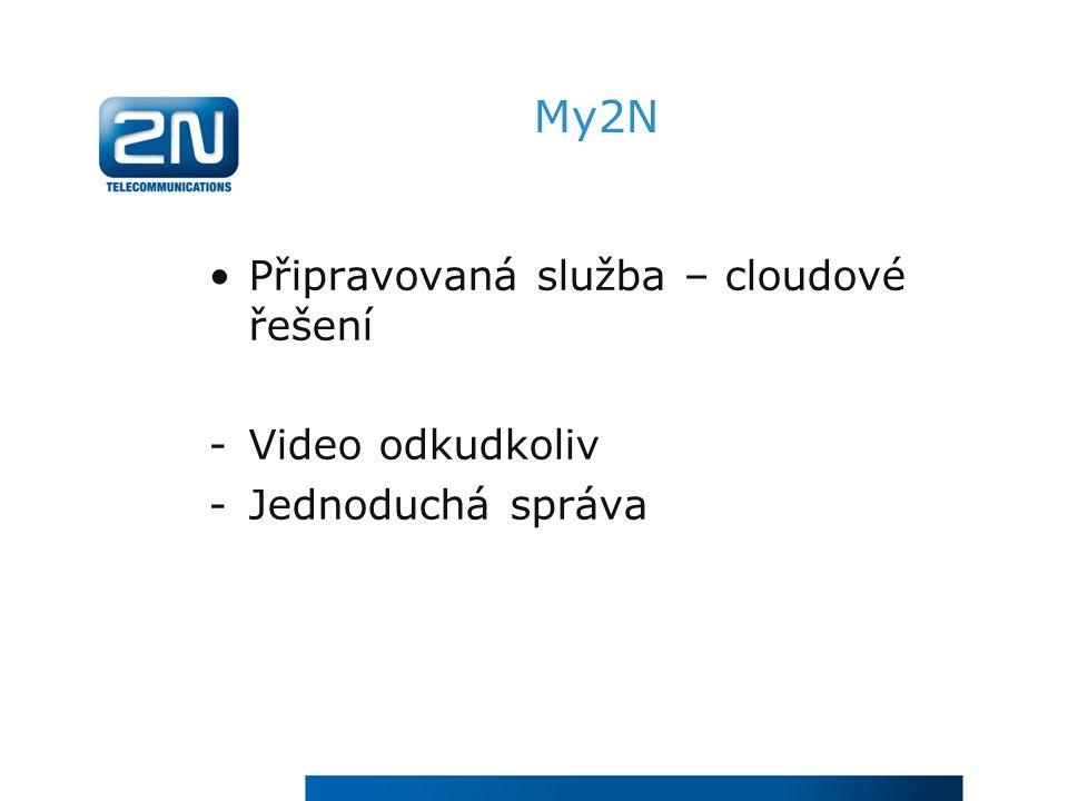 My2N Připravovaná služba – cloudové řešení -Video odkudkoliv -Jednoduchá správa