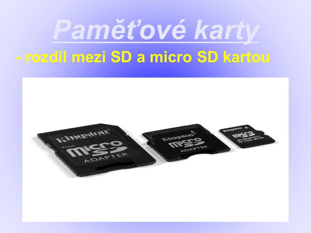 Paměťové karty - rozdíl mezi SD a micro SD kartou