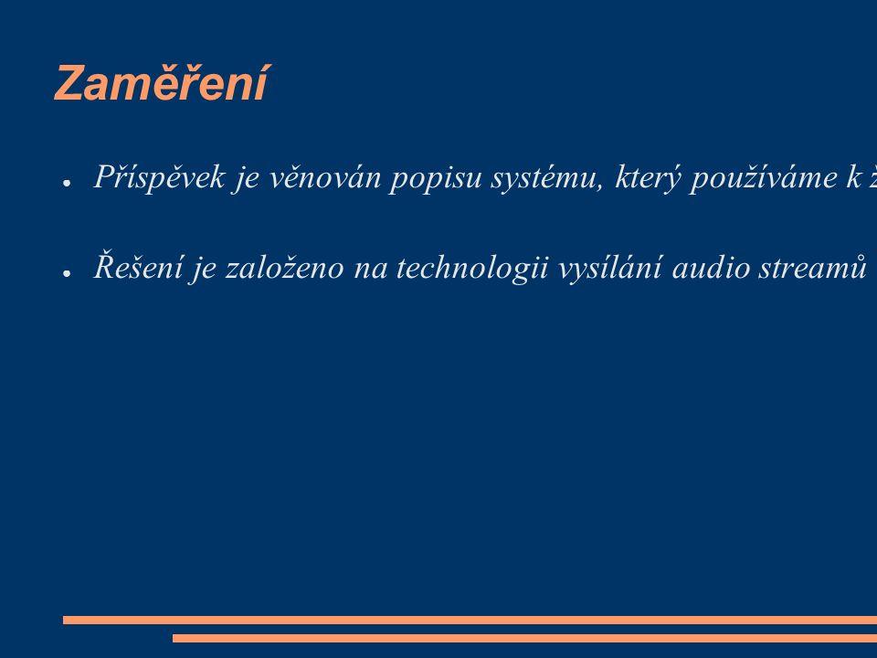 Zaměření ● Příspěvek je věnován popisu systému, který používáme k živému vysílání programů stanic ČRo do sítě Internet.