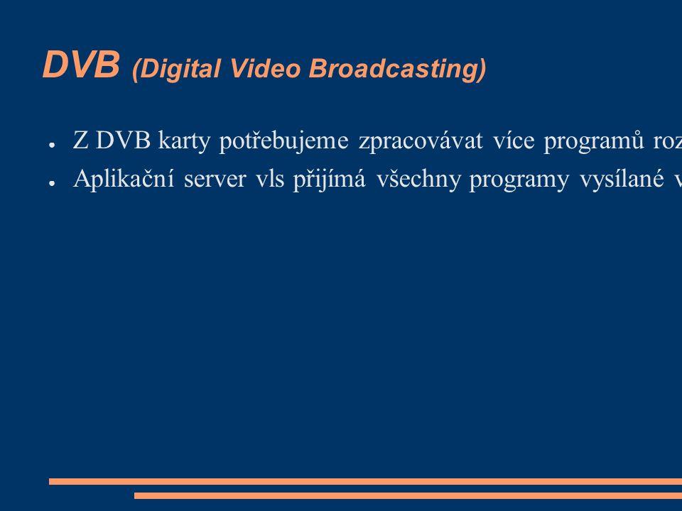 DVB (Digital Video Broadcasting) ● Z DVB karty potřebujeme zpracovávat více programů rozhlasových stanic současně ● Aplikační server vls přijímá všechny programy vysílané v daném paketu (Czechlink) najednou, odděluje je od sebe a v nezměněném formátu (MPEG-TS) je poskytuje k dalšímu zpracování - např.