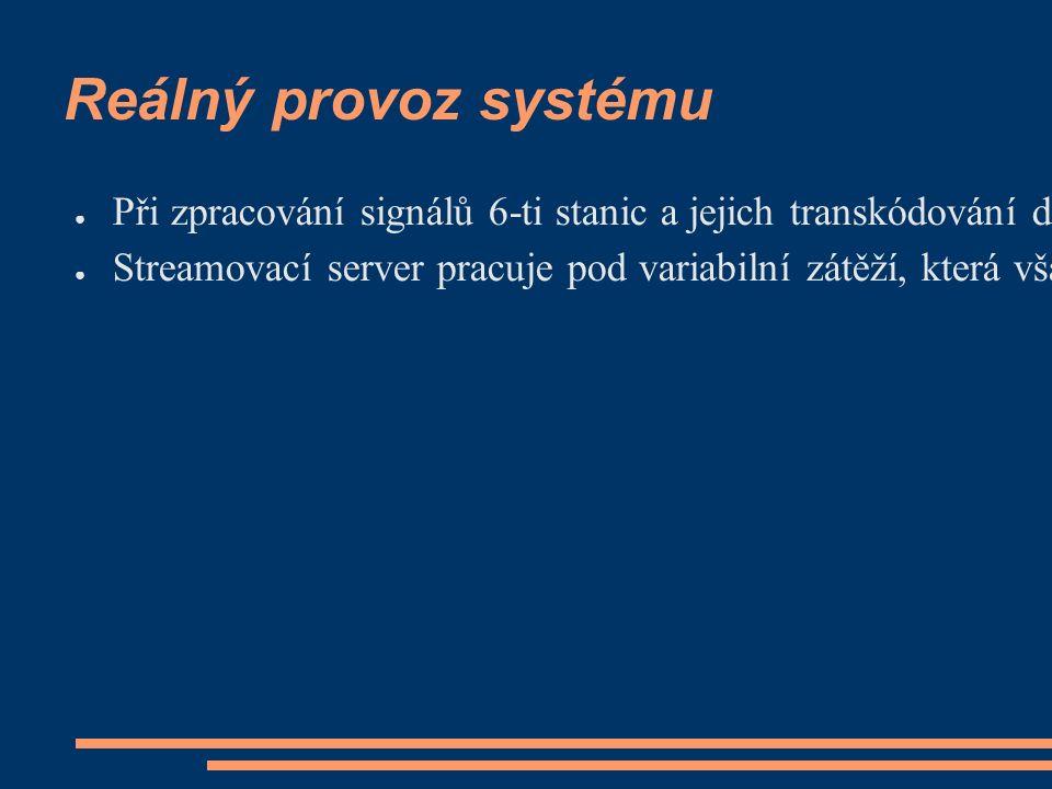 Reálný provoz systému ● Při zpracování signálů 6-ti stanic a jejich transkódování do 12-ti výstupních Ogg Vorbis streamů vykazuje server tun2 (2x P4 Xeon 3.4 GHz) zatížení/load kolem 1.5 a idle kolem 65% ● Streamovací server pracuje pod variabilní zátěží, která však nepřekračuje hodnotu 0.5 při 200 současně přihlášených klientech.