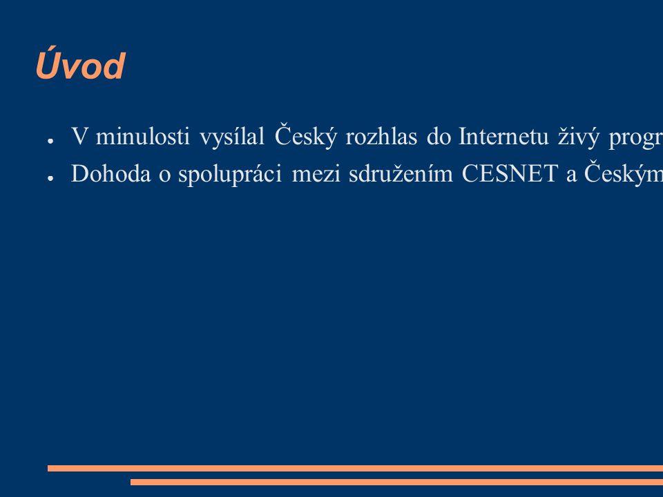 Úvod ● V minulosti vysílal Český rozhlas do Internetu živý program několika svých stanic pomocí technologií Real Audio a Windows Media v rychlostech 10-32 kb/s.