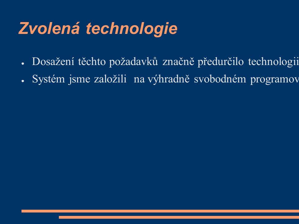 Zvolená technologie ● Dosažení těchto požadavků značně předurčilo technologii, na kterou jsme se orientovali.