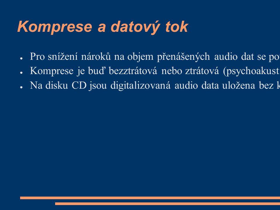 Komprese a datový tok ● Pro snížení nároků na objem přenášených audio dat se používají kompresní kodeky (formáty).