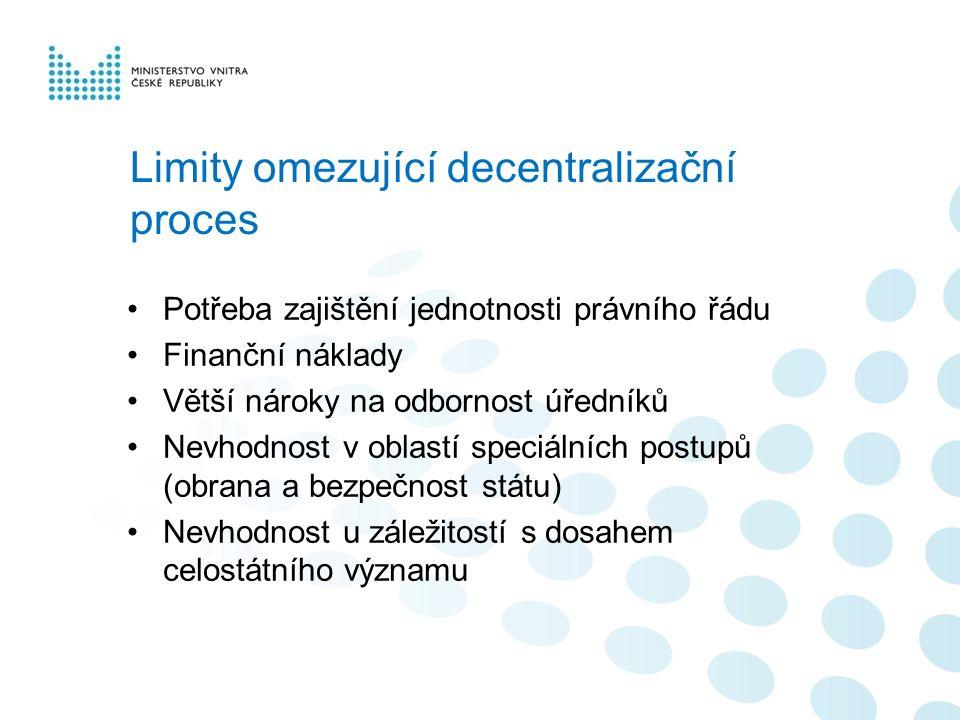 Limity omezující decentralizační proces Potřeba zajištění jednotnosti právního řádu Finanční náklady Větší nároky na odbornost úředníků Nevhodnost v o