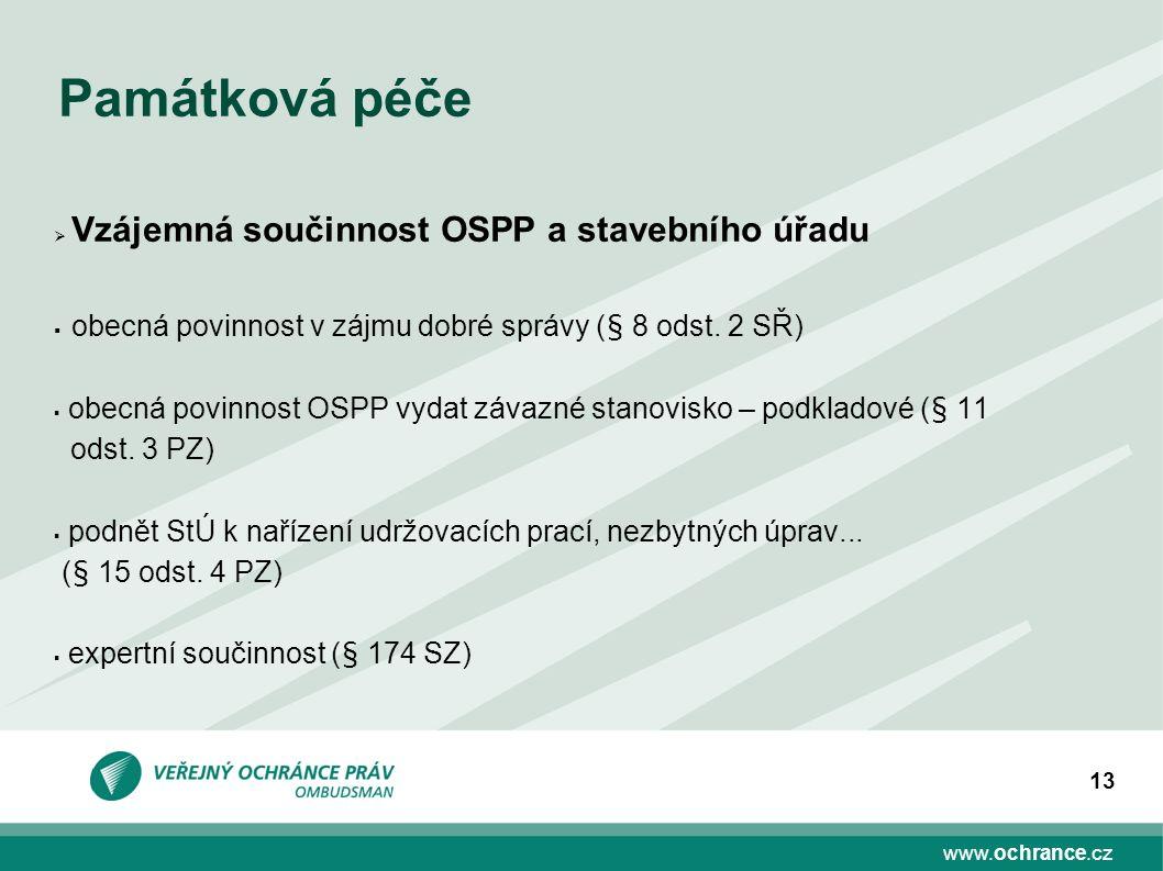 www.ochrance.cz 13 Památková péče  Vzájemná součinnost OSPP a stavebního úřadu  obecná povinnost v zájmu dobré správy (§ 8 odst. 2 SŘ)  obecná povi