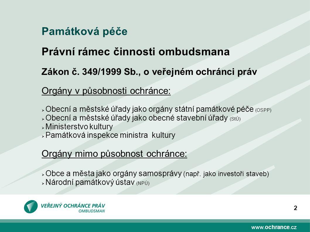 www.ochrance.cz 2 Právní rámec činnosti ombudsmana Zákon č. 349/1999 Sb., o veřejném ochránci práv Orgány v působnosti ochránce:  Obecní a městské úř