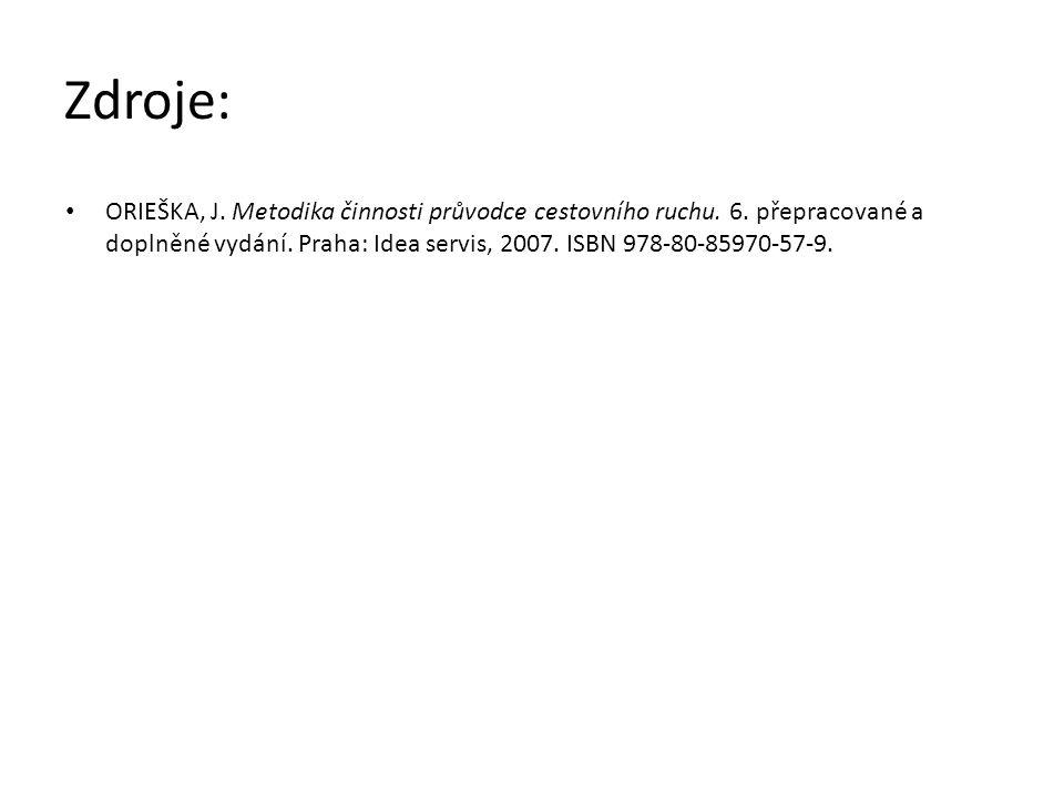 Zdroje: ORIEŠKA, J. Metodika činnosti průvodce cestovního ruchu. 6. přepracované a doplněné vydání. Praha: Idea servis, 2007. ISBN 978-80-85970-57-9.