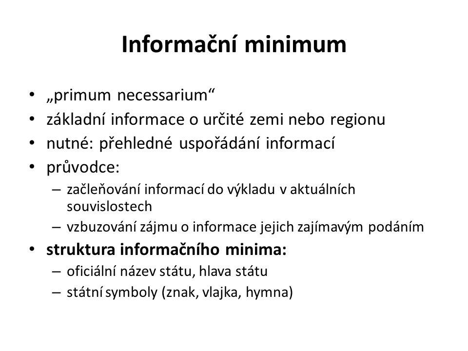 """Informační minimum """"primum necessarium"""" základní informace o určité zemi nebo regionu nutné: přehledné uspořádání informací průvodce: – začleňování in"""