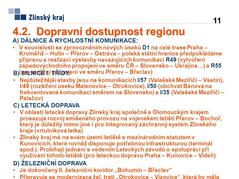 4.2. Dopravní dostupnost regionu A) DÁLNICE A RYCHLOSTNÍ KOMUNIKACE: V souvislosti se zprovozněním nových úseků D1 na celé trase Praha – Kroměříž – Hu