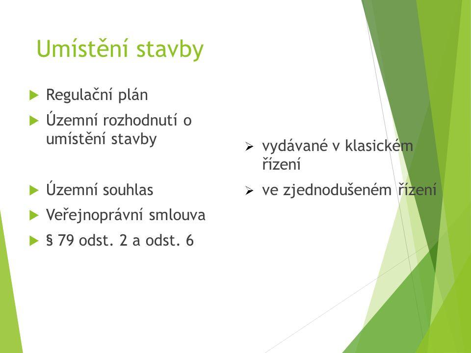 Umístění stavby  Regulační plán  Územní rozhodnutí o umístění stavby  Územní souhlas  Veřejnoprávní smlouva  § 79 odst. 2 a odst. 6  vydávané v