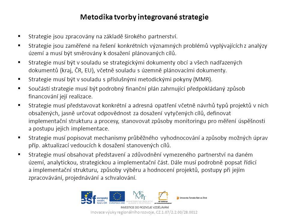 Metodika tvorby integrované strategie  Strategie jsou zpracovány na základě širokého partnerství.