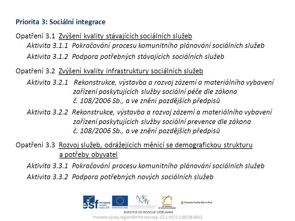 Priorita 3: Sociální integrace Opatření 3.1 Zvýšení kvality stávajících sociálních služeb Aktivita 3.1.1 Pokračování procesu komunitního plánování sociálních služeb Aktivita 3.1.2 Podpora potřebných stávajících sociálních služeb Opatření 3.2 Zvýšení kvality infrastruktury sociálních služeb Aktivita 3.2.1 Rekonstrukce, výstavba a rozvoj zázemí a materiálního vybavení zařízení poskytujících služby sociální péče dle zákona č.