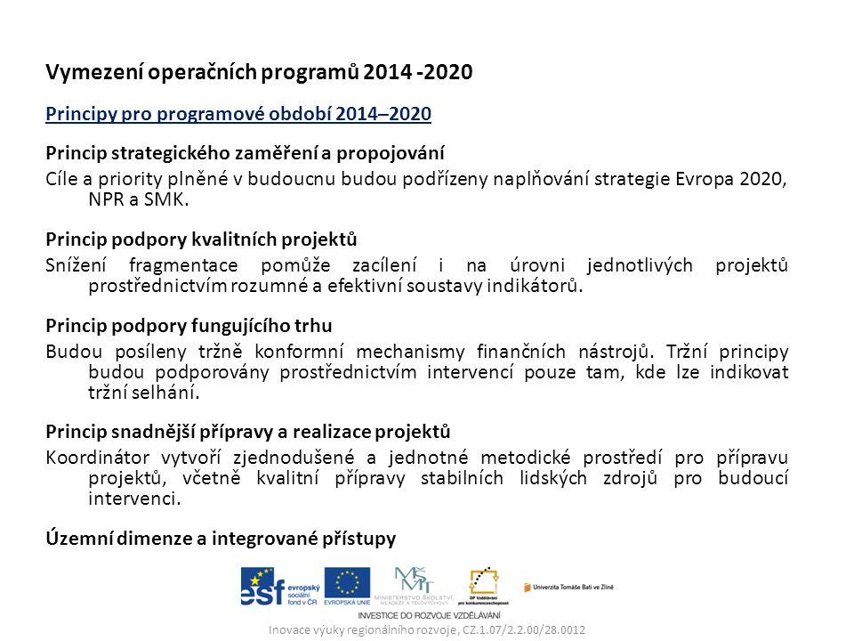 """Navržené OP  OP """"Podnikání a inovace pro konkurenceschopnost (OPPIK) řízený MPO,  OP """"Výzkum, vývoj a vzdělávání (OPVVV) řízený MŠMT,  OP """"Zaměstnanost (OPZ) řízený MPSV,  OP """"Doprava (OPD) řízený MD,  OP """"Životní prostředí (OPŽP) řízený MŽP,  """"Integrovaný regionální operační program (IROP) řízený MMR,  OP """"Praha - pól růstu ČR řízený hl."""