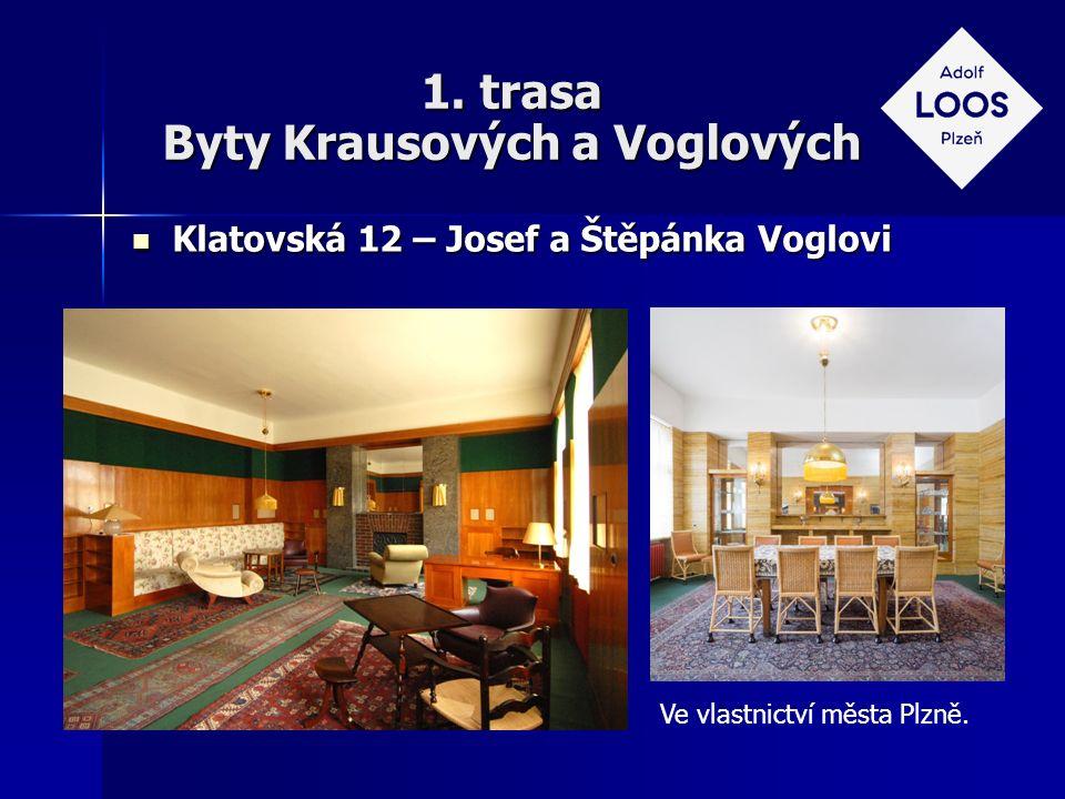 1. trasa Byty Krausových a Voglových Klatovská 12 – Josef a Štěpánka Voglovi Klatovská 12 – Josef a Štěpánka Voglovi Ve vlastnictví města Plzně.