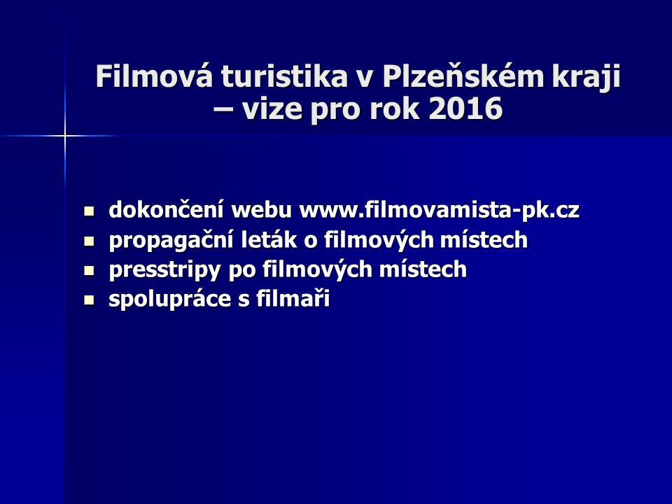 Filmová turistika v Plzeňském kraji – vize pro rok 2016 dokončení webu www.filmovamista-pk.cz dokončení webu www.filmovamista-pk.cz propagační leták o filmových místech propagační leták o filmových místech presstripy po filmových místech presstripy po filmových místech spolupráce s filmaři spolupráce s filmaři