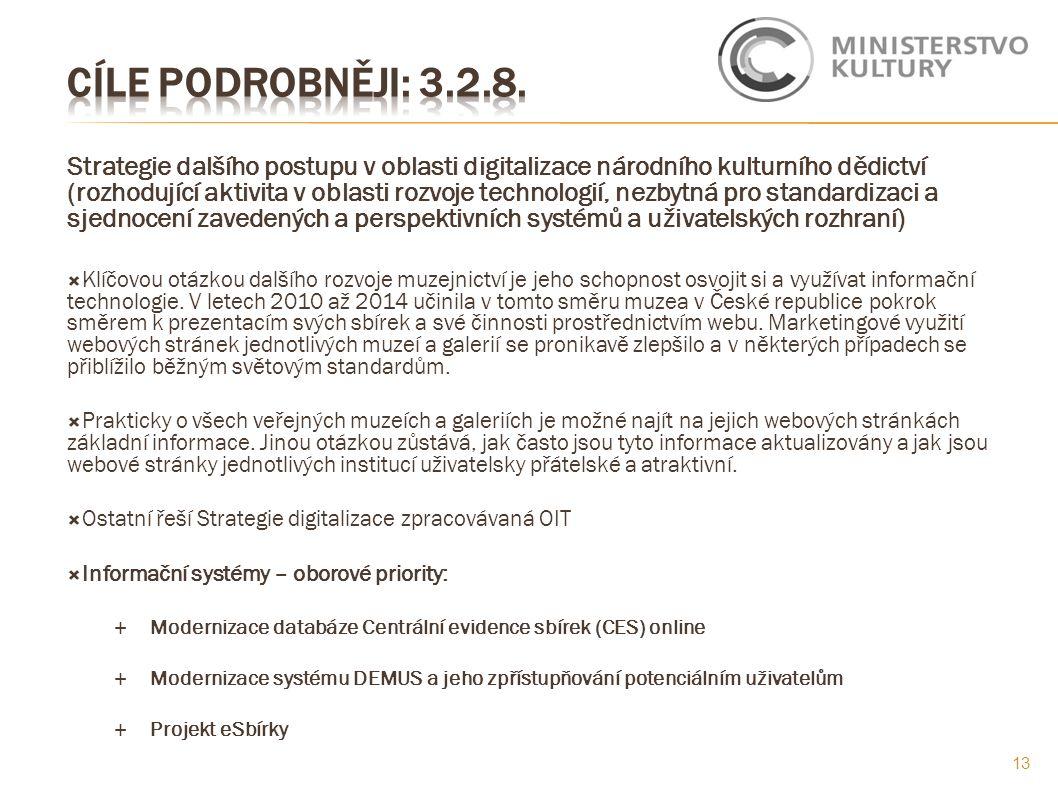 Strategie dalšího postupu v oblasti digitalizace národního kulturního dědictví (rozhodující aktivita v oblasti rozvoje technologií, nezbytná pro stand