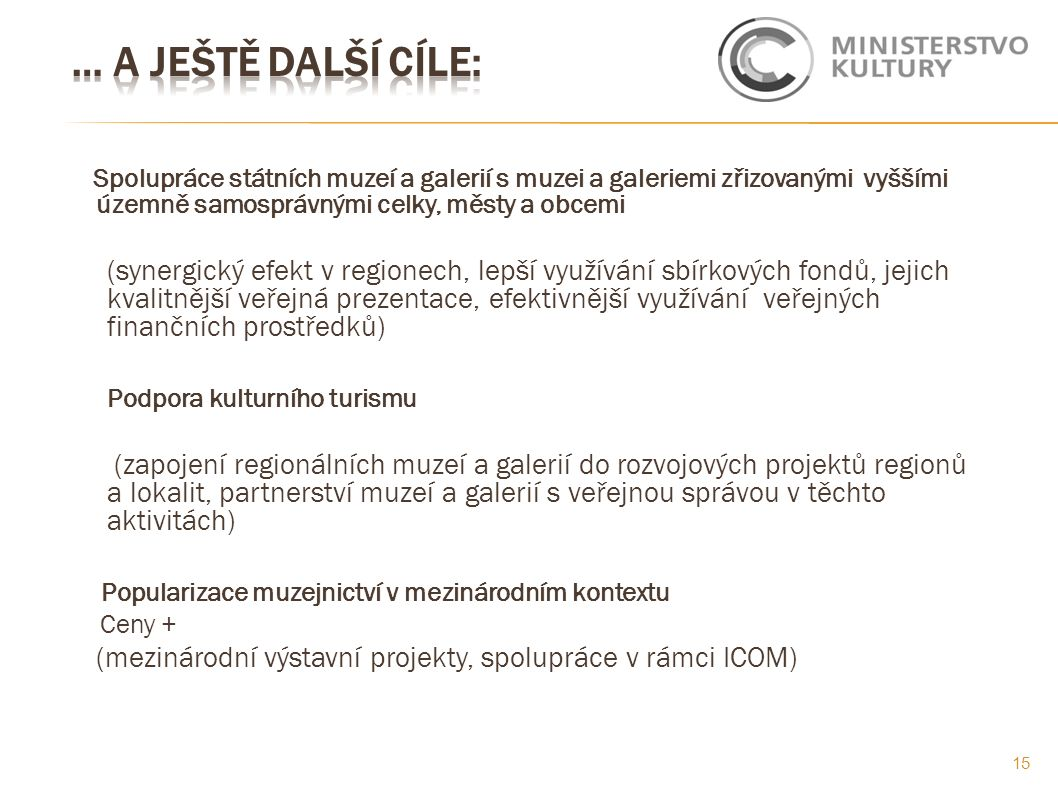 Spolupráce státních muzeí a galerií s muzei a galeriemi zřizovanými vyššími územně samosprávnými celky, městy a obcemi (synergický efekt v regionech, lepší využívání sbírkových fondů, jejich kvalitnější veřejná prezentace, efektivnější využívání veřejných finančních prostředků) Podpora kulturního turismu (zapojení regionálních muzeí a galerií do rozvojových projektů regionů a lokalit, partnerství muzeí a galerií s veřejnou správou v těchto aktivitách) Popularizace muzejnictví v mezinárodním kontextu Ceny + (mezinárodní výstavní projekty, spolupráce v rámci ICOM) 15