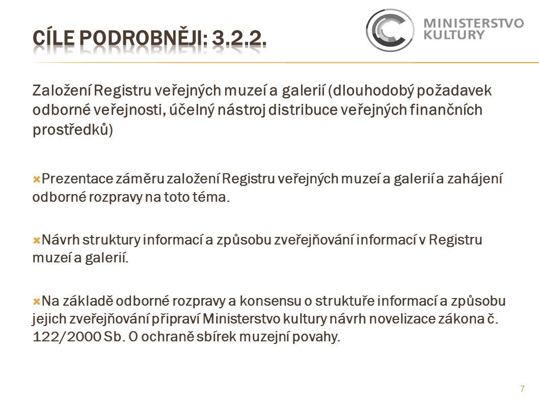 Založení Registru veřejných muzeí a galerií (dlouhodobý požadavek odborné veřejnosti, účelný nástroj distribuce veřejných finančních prostředků)  Pre