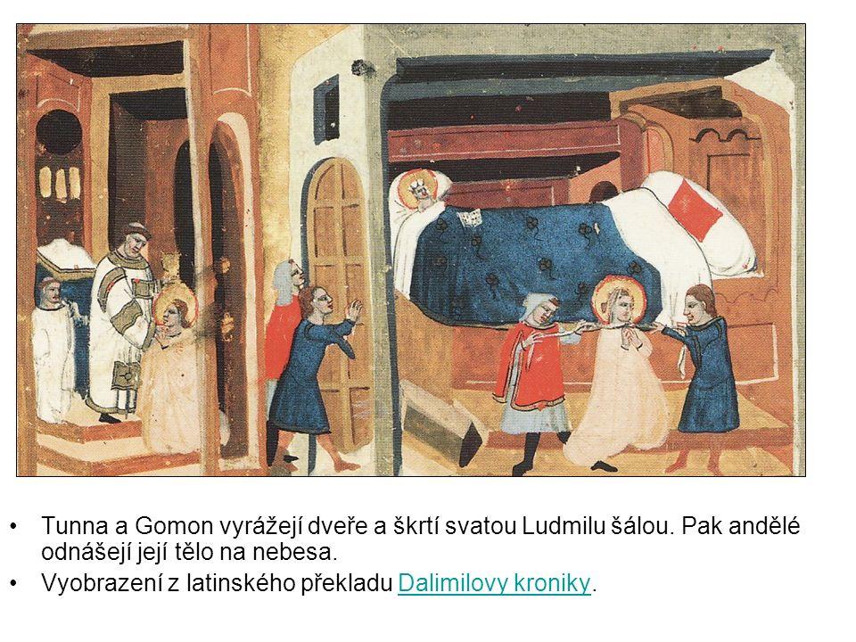 Tunna a Gomon vyrážejí dveře a škrtí svatou Ludmilu šálou.