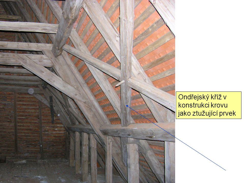 Ondřejský kříž v konstrukci krovu jako ztužující prvek