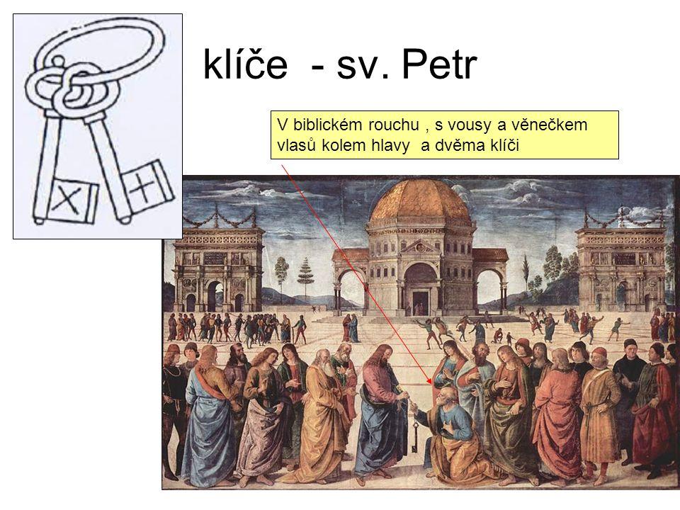 klíče - sv. Petr V biblickém rouchu, s vousy a věnečkem vlasů kolem hlavy a dvěma klíči