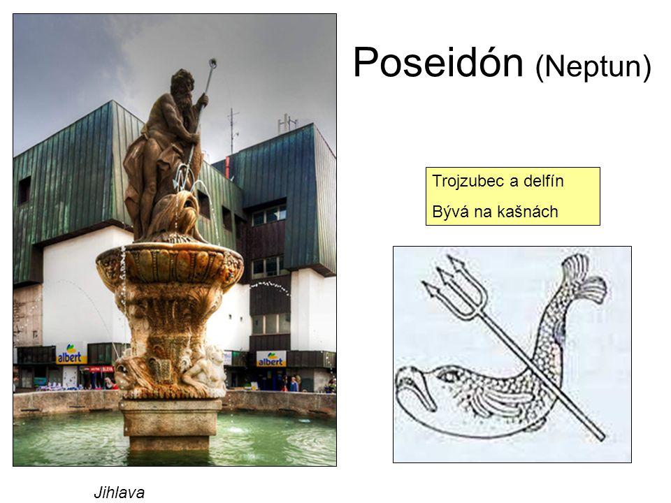 Poseidón (Neptun) Trojzubec a delfín Bývá na kašnách Jihlava