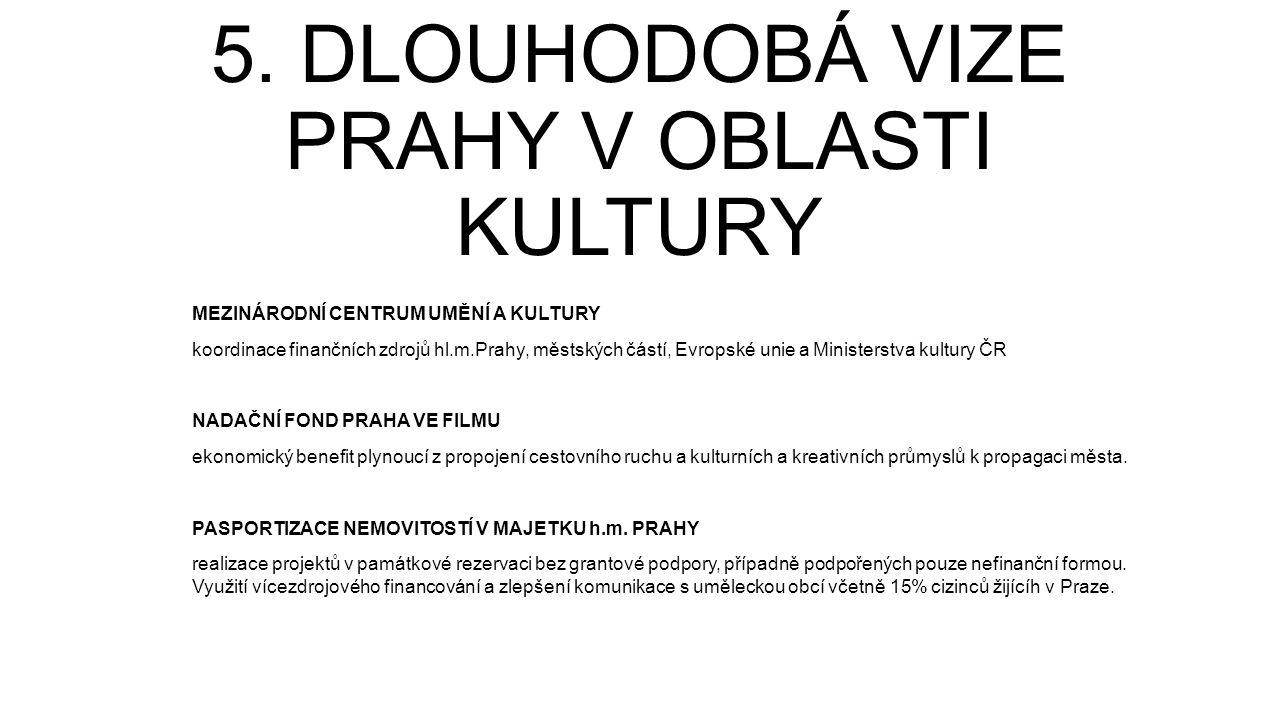 5. DLOUHODOBÁ VIZE PRAHY V OBLASTI KULTURY MEZINÁRODNÍ CENTRUM UMĚNÍ A KULTURY koordinace finančních zdrojů hl.m.Prahy, městských částí, Evropské unie