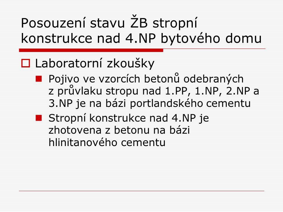 Posouzení stavu ŽB stropní konstrukce nad 4.NP bytového domu  Laboratorní zkoušky Pojivo ve vzorcích betonů odebraných z průvlaku stropu nad 1.PP, 1.NP, 2.NP a 3.NP je na bázi portlandského cementu Stropní konstrukce nad 4.NP je zhotovena z betonu na bázi hlinitanového cementu
