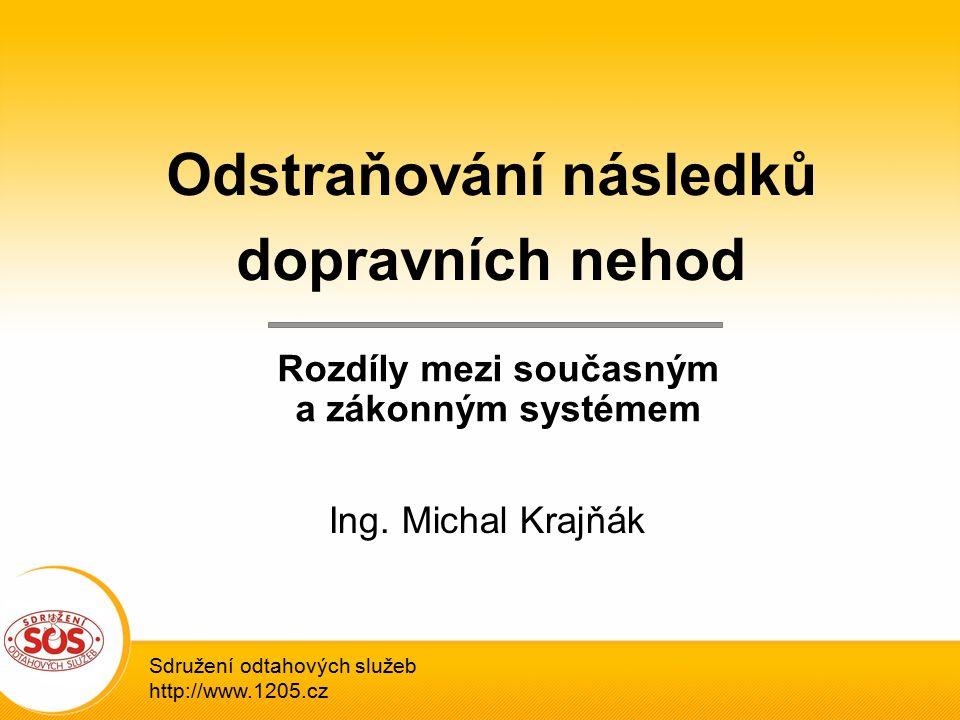 Sdružení odtahových služeb http://www.1205.cz Odstraňování následků dopravních nehod Rozdíly mezi současným a zákonným systémem Ing.
