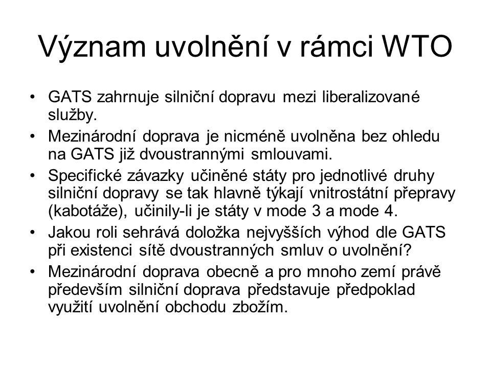 Význam uvolnění v rámci WTO GATS zahrnuje silniční dopravu mezi liberalizované služby.