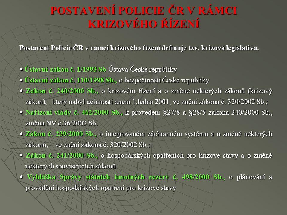 POSTAVENÍ POLICIE ČR V RÁMCI KRIZOVÉHO ŘÍZENÍ Postavení Policie ČR v rámci krizového řízení definuje tzv.