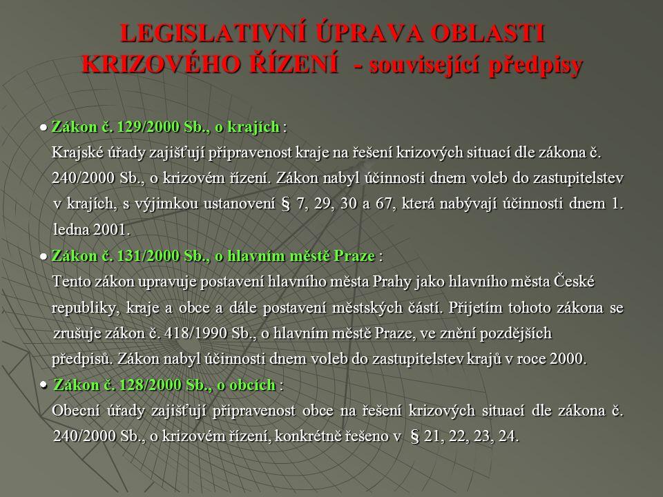 LEGISLATIVNÍ ÚPRAVA OBLASTI KRIZOVÉHO ŘÍZENÍ - související předpisy  Zákon č.