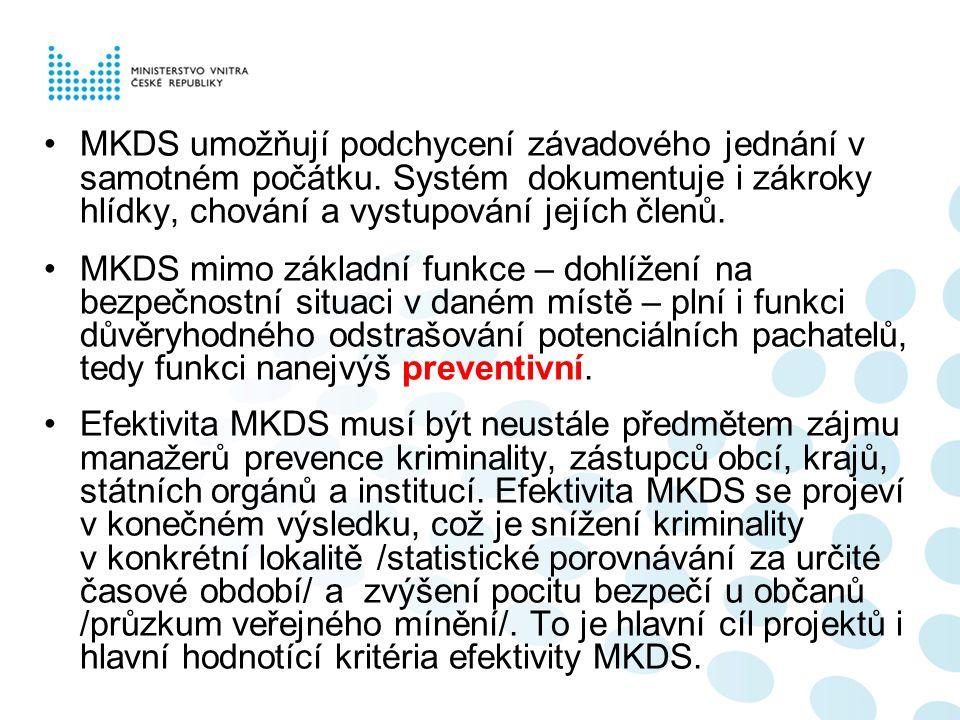 MKDS umožňují podchycení závadového jednání v samotném počátku. Systém dokumentuje i zákroky hlídky, chování a vystupování jejích členů. MKDS mimo zák