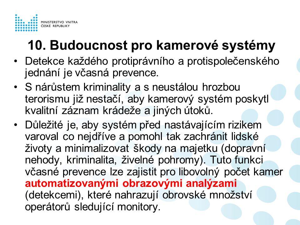 10. Budoucnost pro kamerové systémy Detekce každého protiprávního a protispolečenského jednání je včasná prevence. S nárůstem kriminality a s neustálo