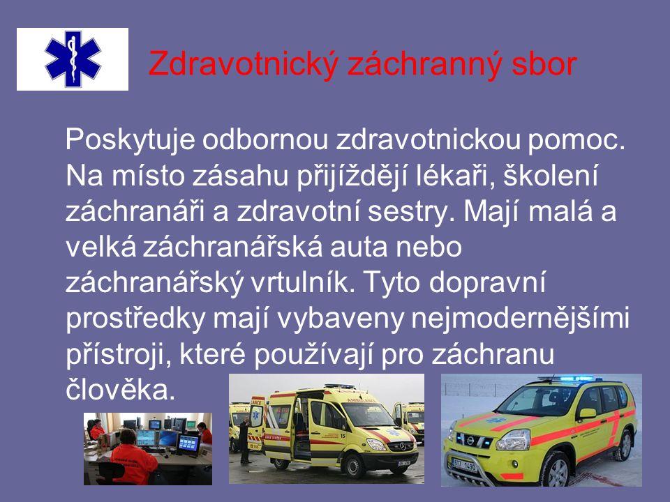 Zdravotnický záchranný sbor Poskytuje odbornou zdravotnickou pomoc.