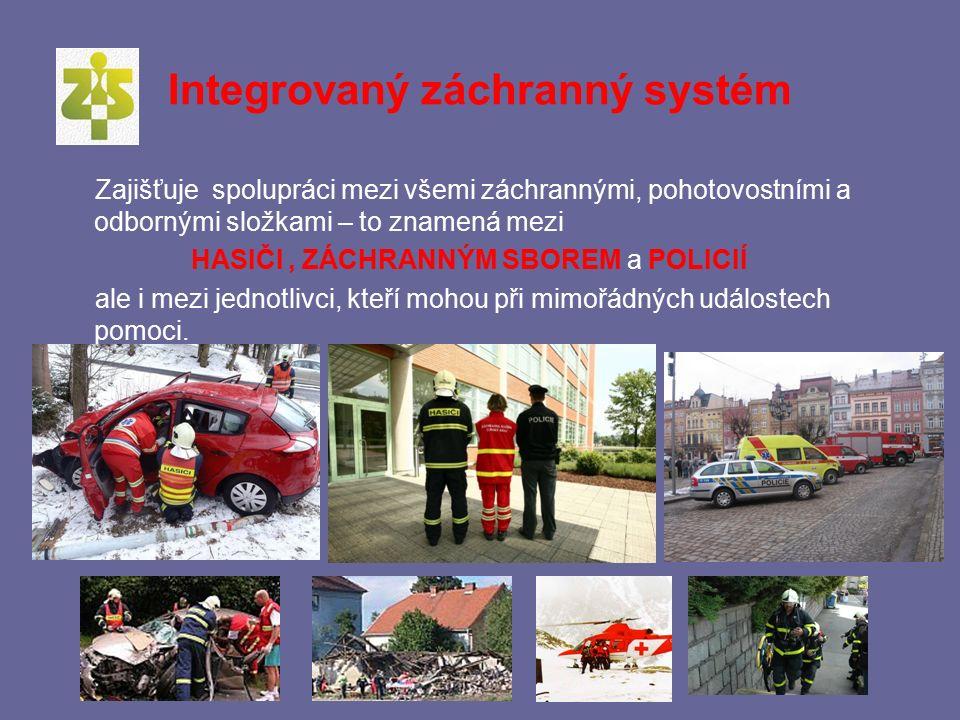 Schéma jednotlivých složek integrovaného záchranného systému