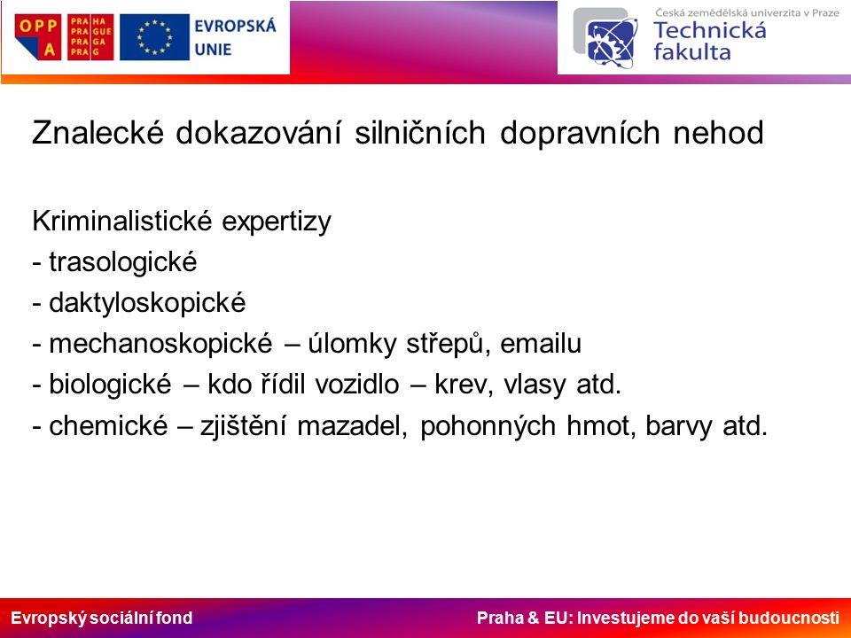 Evropský sociální fond Praha & EU: Investujeme do vaší budoucnosti Znalecké dokazování silničních dopravních nehod Kriminalistické expertizy - trasologické - daktyloskopické - mechanoskopické – úlomky střepů, emailu - biologické – kdo řídil vozidlo – krev, vlasy atd.