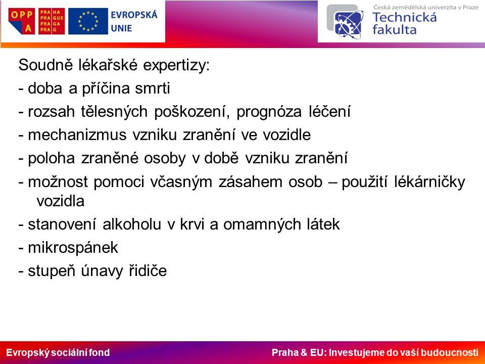 Evropský sociální fond Praha & EU: Investujeme do vaší budoucnosti Soudně lékařské expertizy: - doba a příčina smrti - rozsah tělesných poškození, prognóza léčení - mechanizmus vzniku zranění ve vozidle - poloha zraněné osoby v době vzniku zranění - možnost pomoci včasným zásahem osob – použití lékárničky vozidla - stanovení alkoholu v krvi a omamných látek - mikrospánek - stupeň únavy řidiče