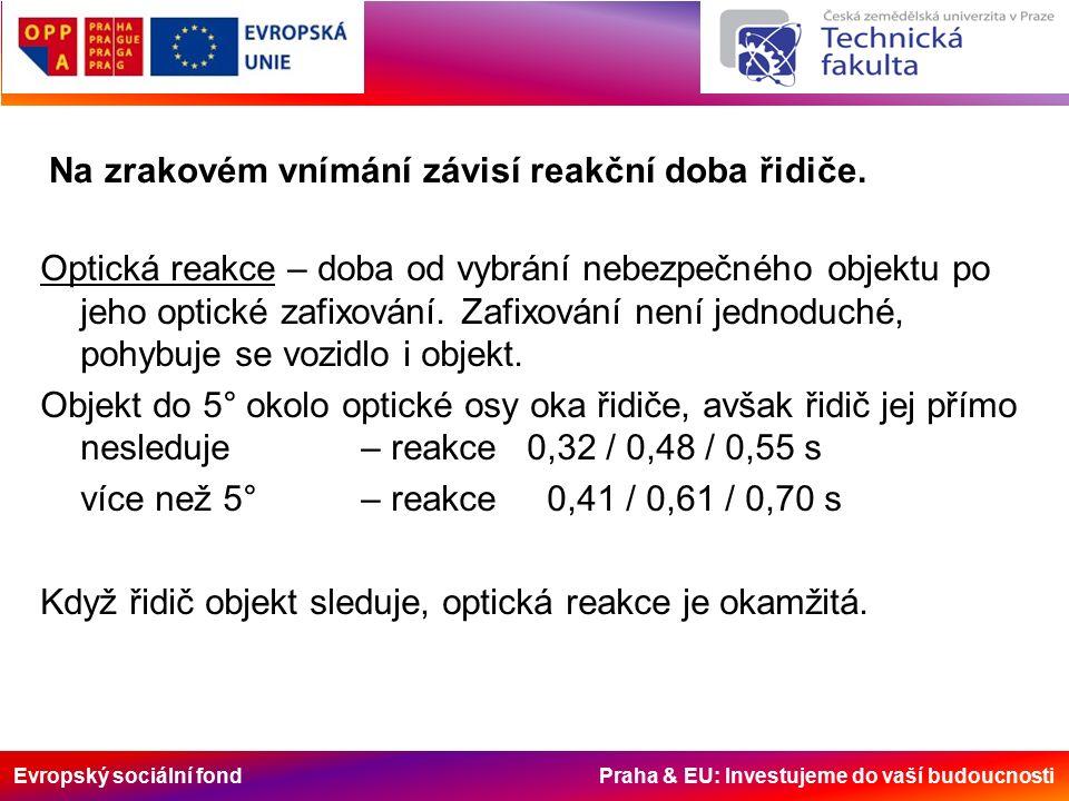 Evropský sociální fond Praha & EU: Investujeme do vaší budoucnosti Na zrakovém vnímání závisí reakční doba řidiče.