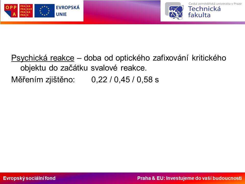 Evropský sociální fond Praha & EU: Investujeme do vaší budoucnosti Psychická reakce – doba od optického zafixování kritického objektu do začátku svalové reakce.